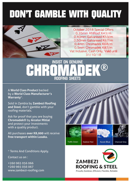 Don't Gamble with quality - insist on genuine Chromadek roofing sheets