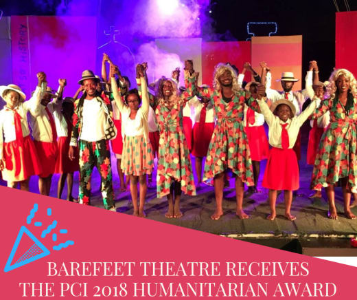 Barefeet Theatre receives the PCI 2018 Humantarian award