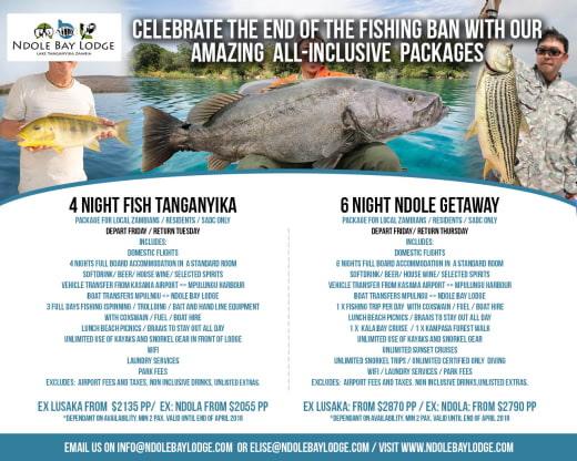 Celebrate the end of the fishing ban with all inclusive fishing packages to Lake Tanganyika