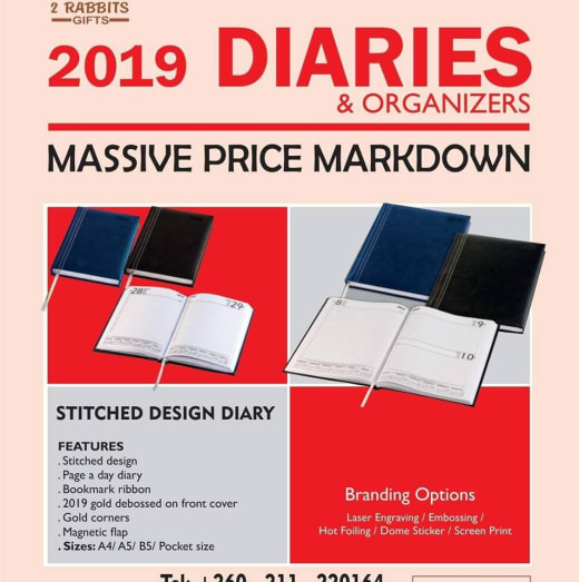 Upto 50% discount on 2019 diaries and organizers