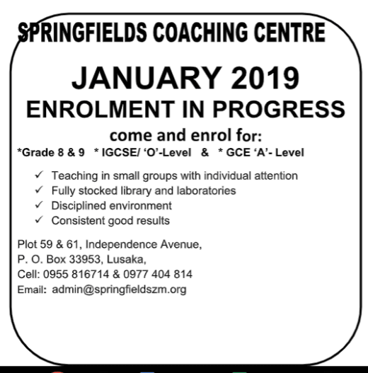 January 2019 intake — grade 8 to A Level - News by Springfields