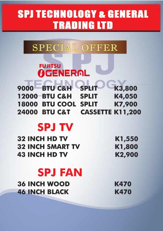Specials on air conditioning, tv's and fans