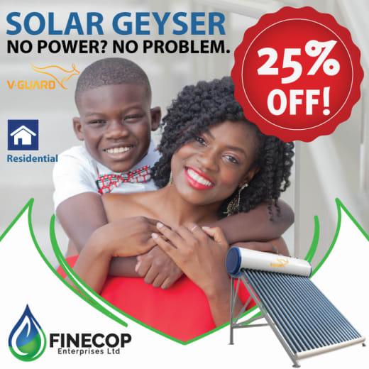 25% off solar geysers