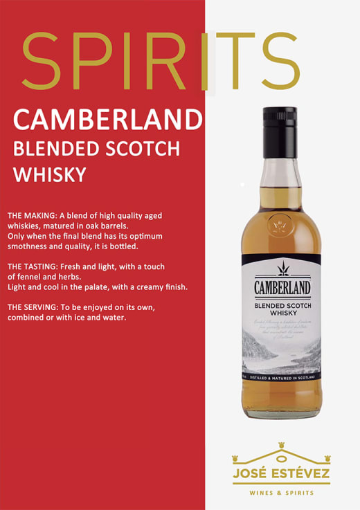 Now available from Supergold Vending - Camberland Blended Scotch Whisky LD