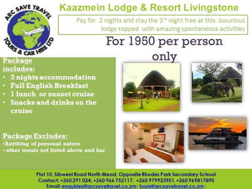 Pay for 2 nights and stay for 3 in Livingstone