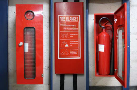 Various types of fire safety equipment
