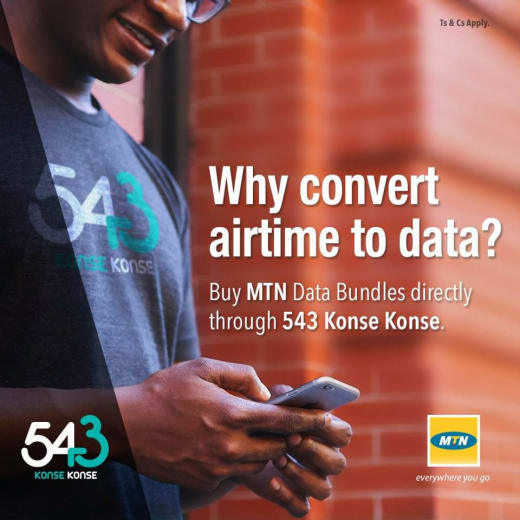Get MTN data bundles directly from any 543 Konse Konse outlet.