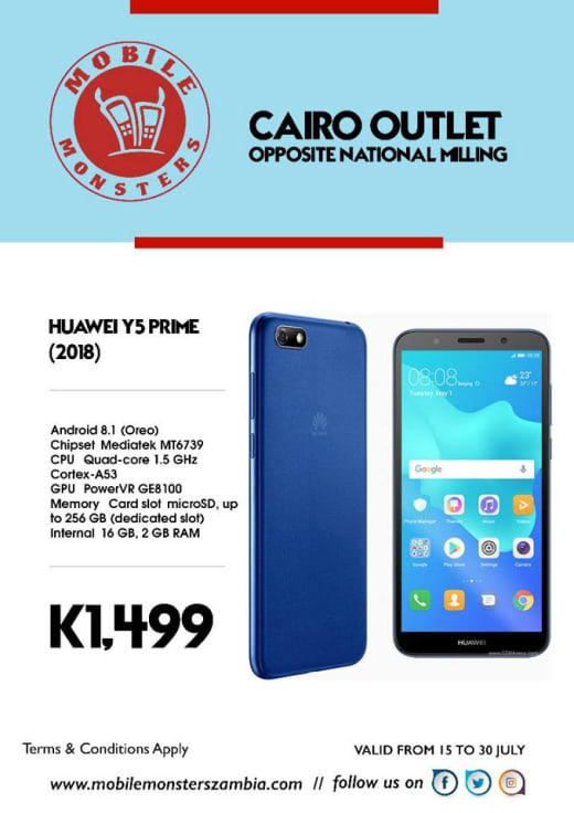 Huawei Y5 Prime phone available in stock