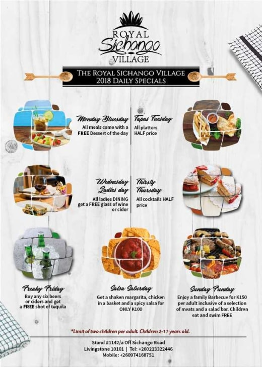 Daily food specials at The Royal Sichango Village Restaurant