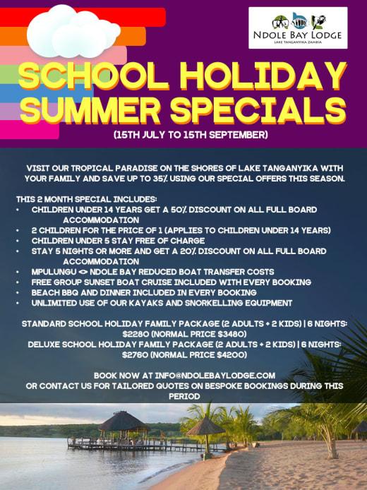 School holiday summer specials at Ndole Bay