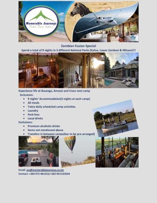 Zambian fusion special at Memorable Journeys