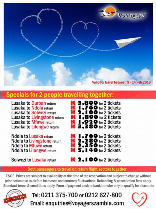 Valentine's flights specials