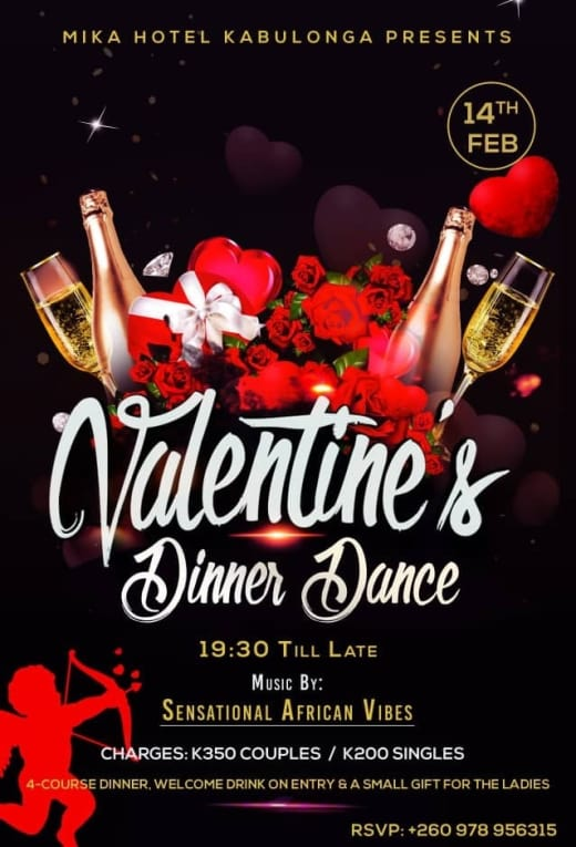 Valentines dinner dance at Mika Hotel Kabulonga