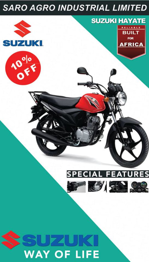 10% off Suzuki motorcycle - Offer by Saro Agro Industrial Ltd