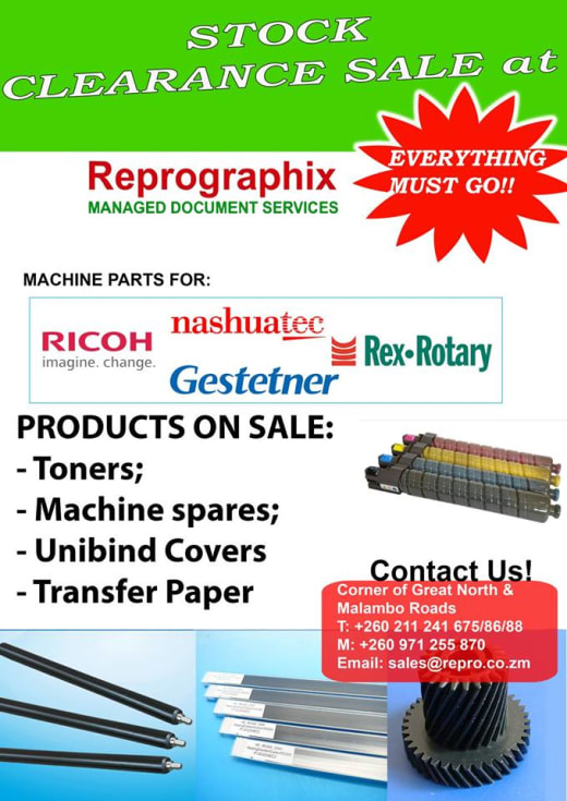 Clearance sale on machine spare parts and toners
