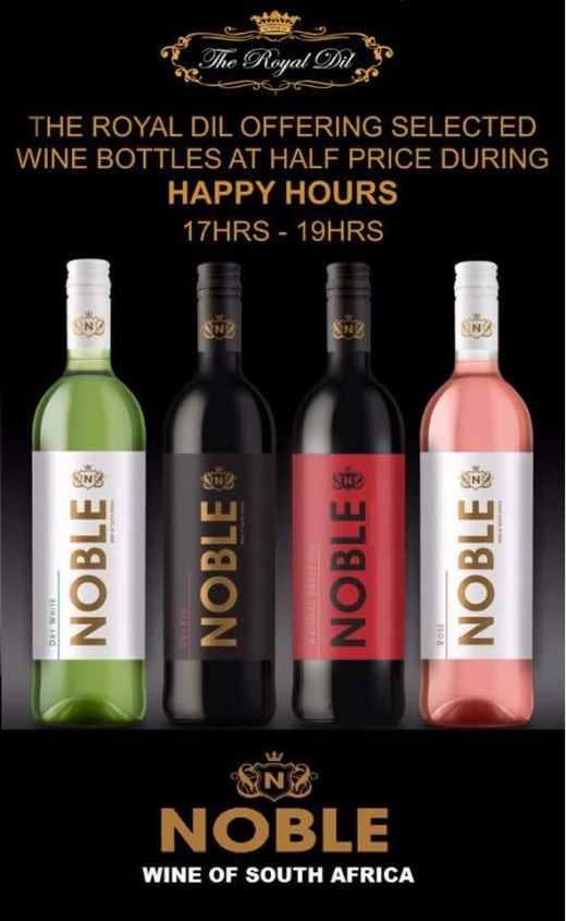 Happy Hour Special: half price on wine bottles