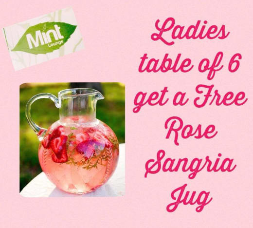 Get a complementary jug of Rose Sangria on Women's Day