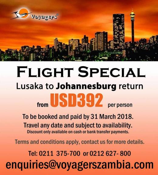 Lusaka - Johannesburg return flight special