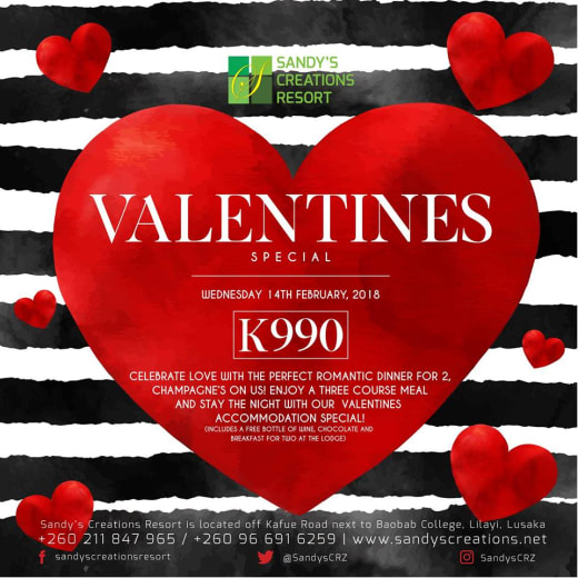 Valentine's dinner and accommodation special