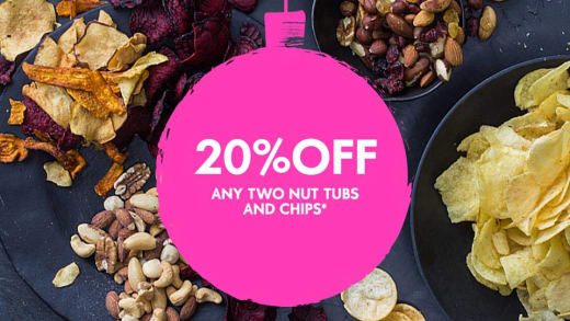 20% off any any nut tubes and chips