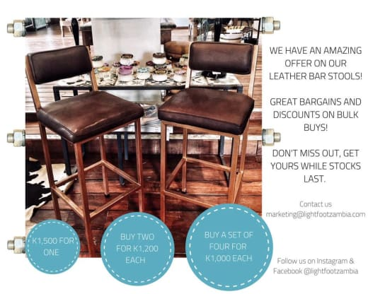 Discount on leather bar stools