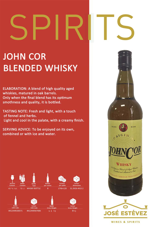 Now available fron Supergold Vending - John Cor Blended Whisky LD