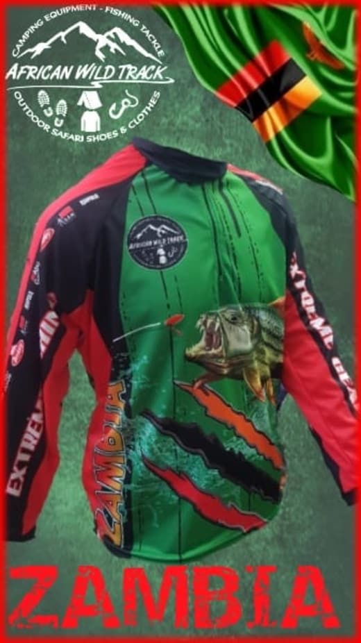 Fishing shirts in Zambian colours available in stock