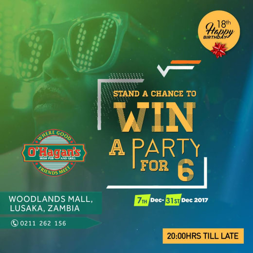 Win an awesome party for 6 at O'Hagans