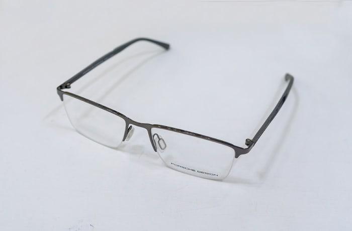 Porsche Design Semi-Rimless Eyeglass Frames - Grey | Vision Care Opticians