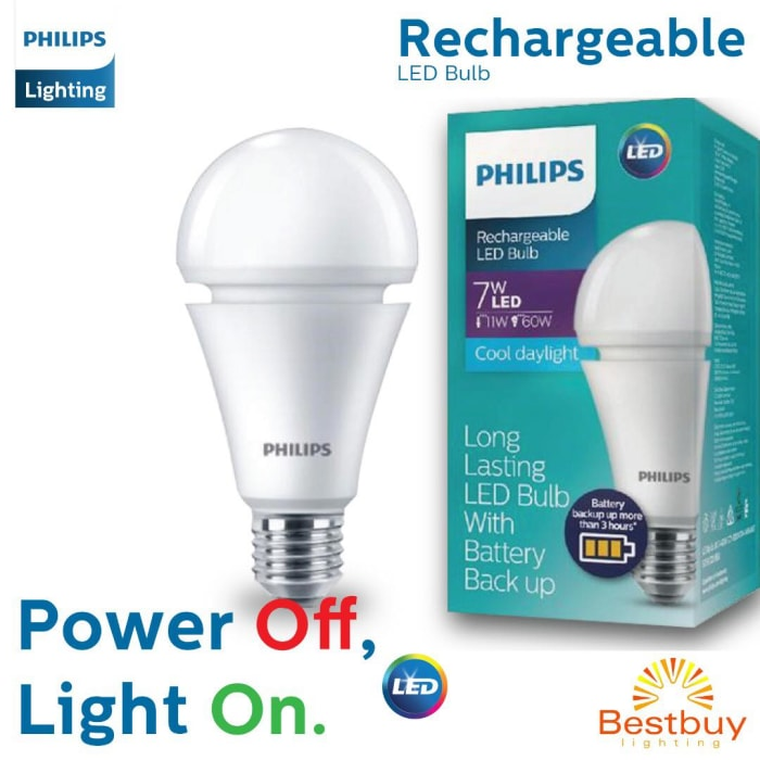 Rechargeable LED bulb with battery back up
