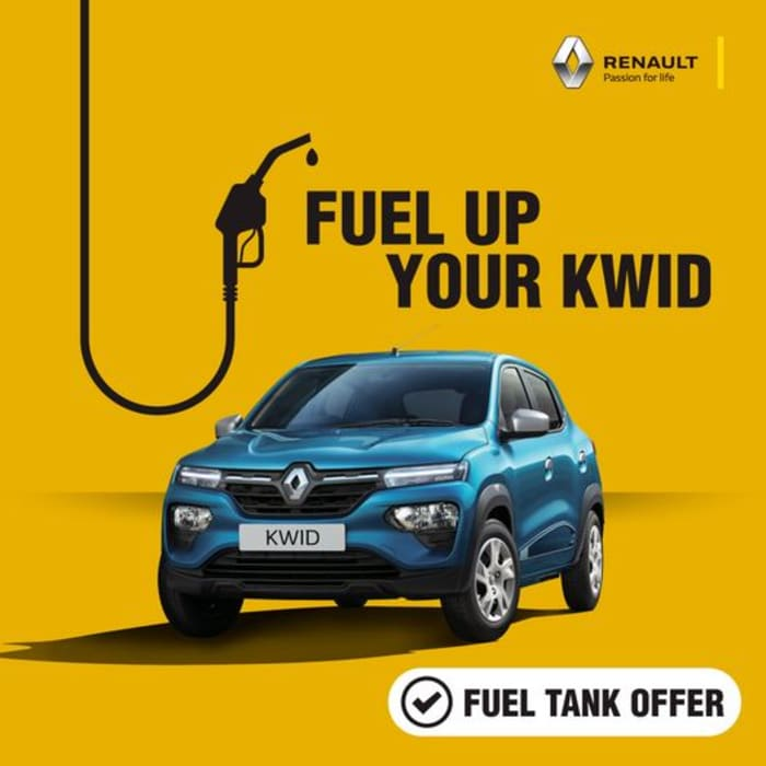 Get a free tank of fuel on every purchase made on the Renault KWID