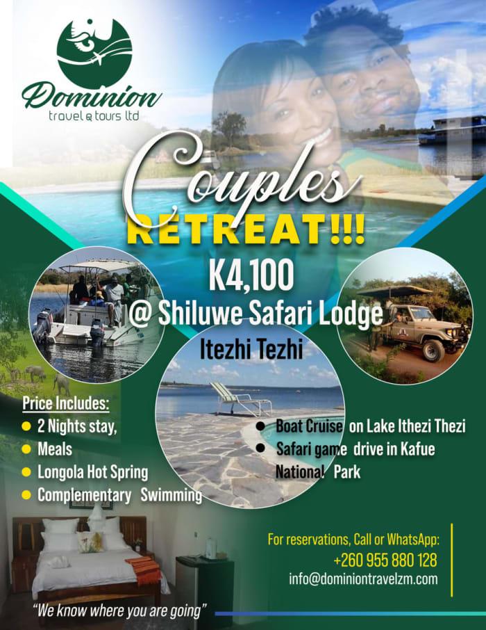 Couples Retreat K4,100 - Shiluwe Safari Lodge Itezhi Tezhi