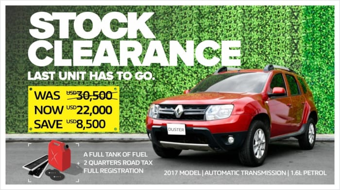 Brand new Renault Duster on clearance sale!