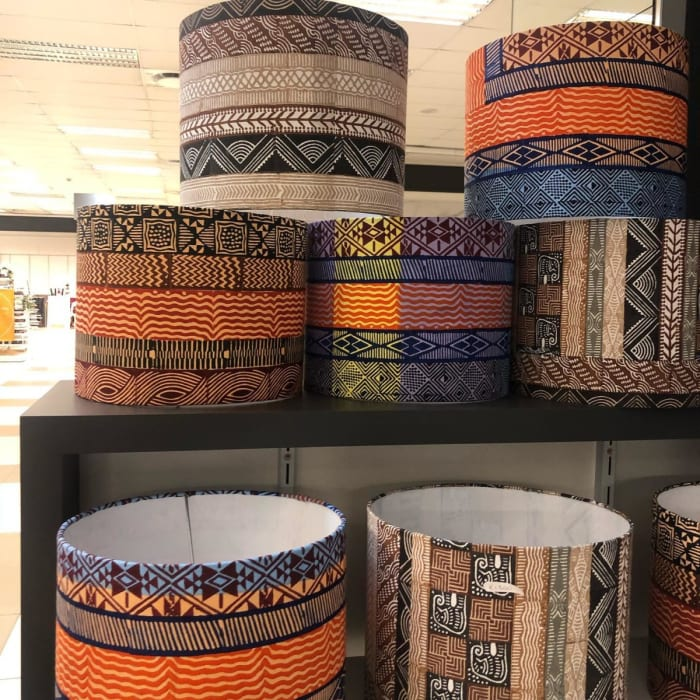 Hand printed fabric lamps available at the Makers of Afrika stand ZADS 2020