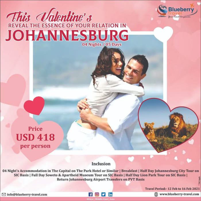 This Valentines reveal the essence of your relation in Johannesburg 4 nights/5 days