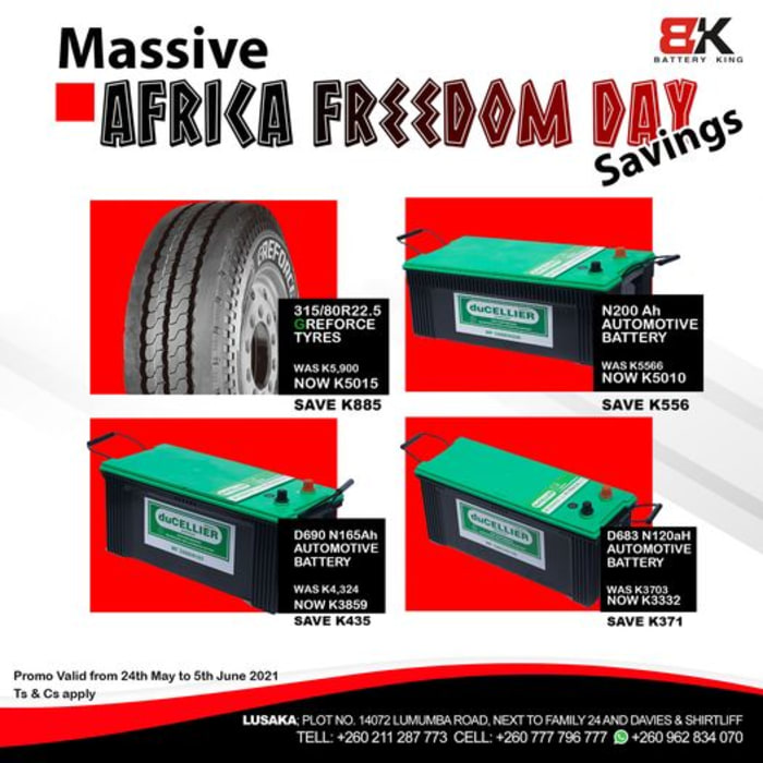 Enjoy massive savings on truck batteries and tyres