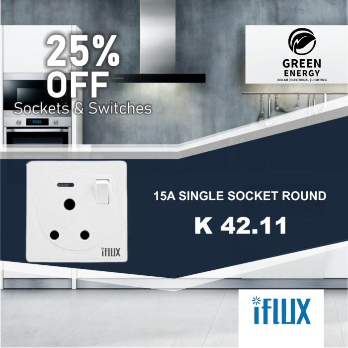 25% Off iFlux 15A Single Socket round