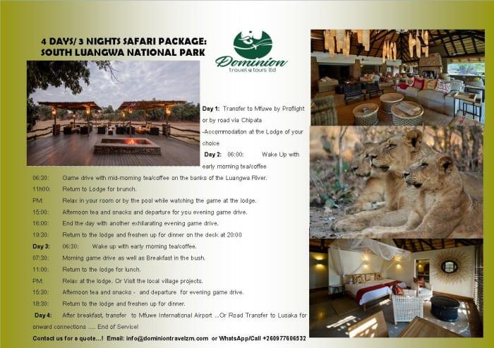 4 days / 3 nights Safari package : South Luangwa National Park