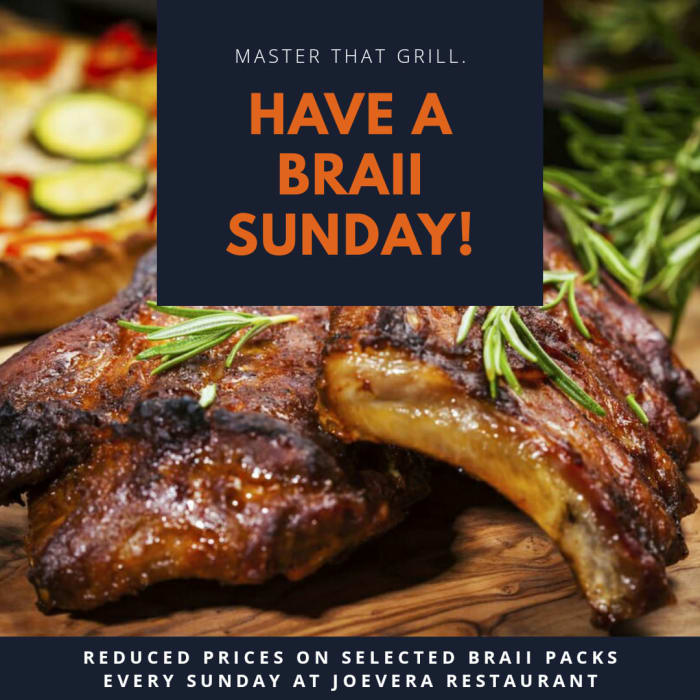 Reduced braii packs every Sunday at Joevera Restaurant