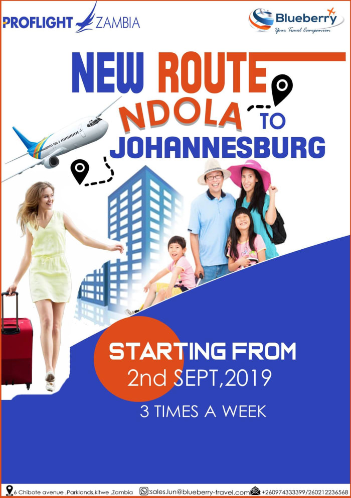 New route Ndola to Johannesburg