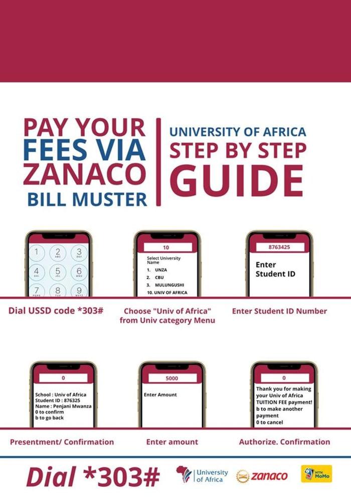 Pay your fees via Zanaco Bill Muster!