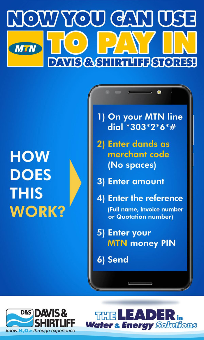 You can now use MTN to pay in Davis and Shirtliff Stores!