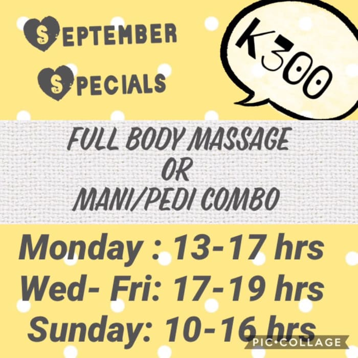 Pedicure/ manicure and full body massage specials