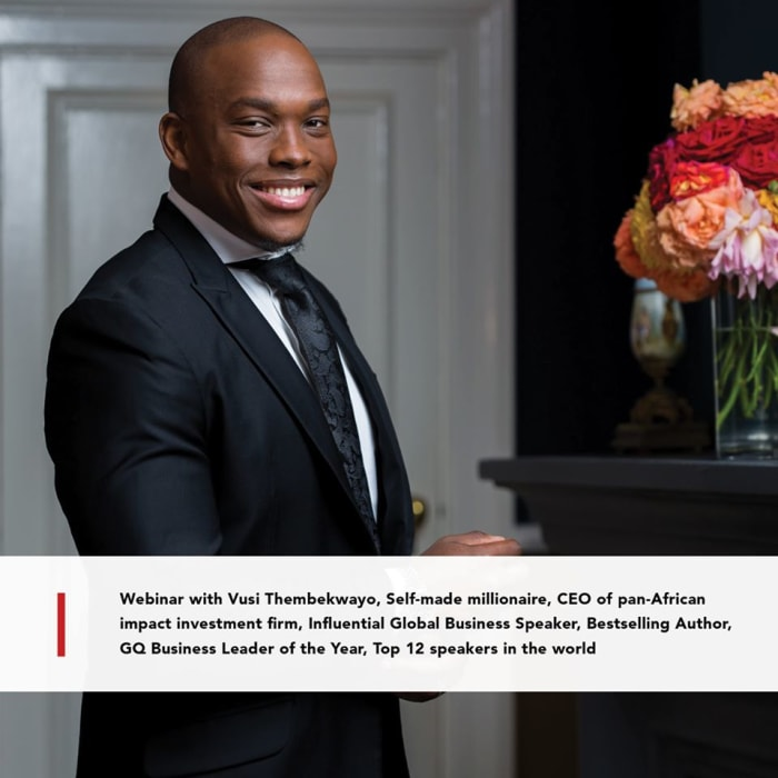 Join the business adaptability webinar series with Vusi Thembekwayo