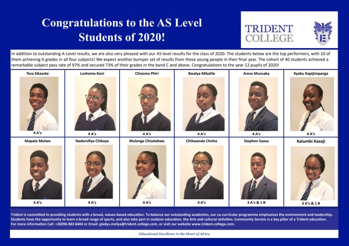 Congratulations to the AS Level students of 2020