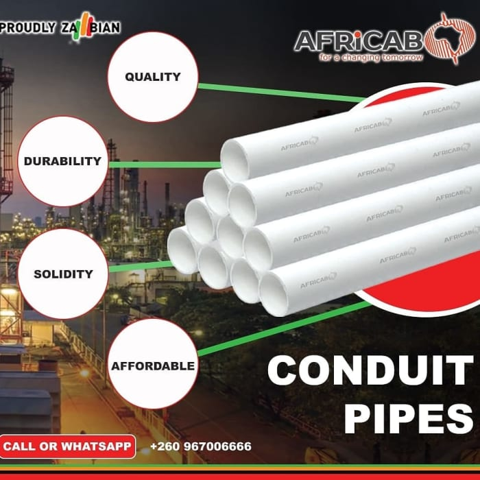 PVC ZABS certified Conduit pipes now available at Africab Zambia