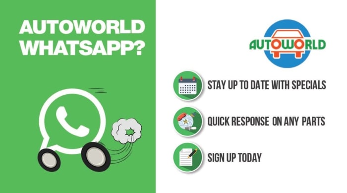 Join Autoworld's new WhatsApp group for offer alerts and speedy parts enquiries