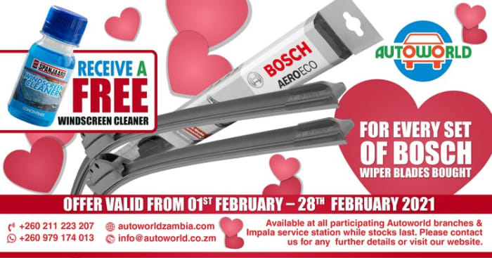 For every set of Bosch wiper blades bought !! receive a free windscreen cleaner