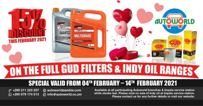 15% off fuel GUD filters and INDY oil ranges