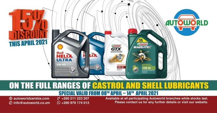 April 2021 special on Castrol and Shell lubricants from Autoworld